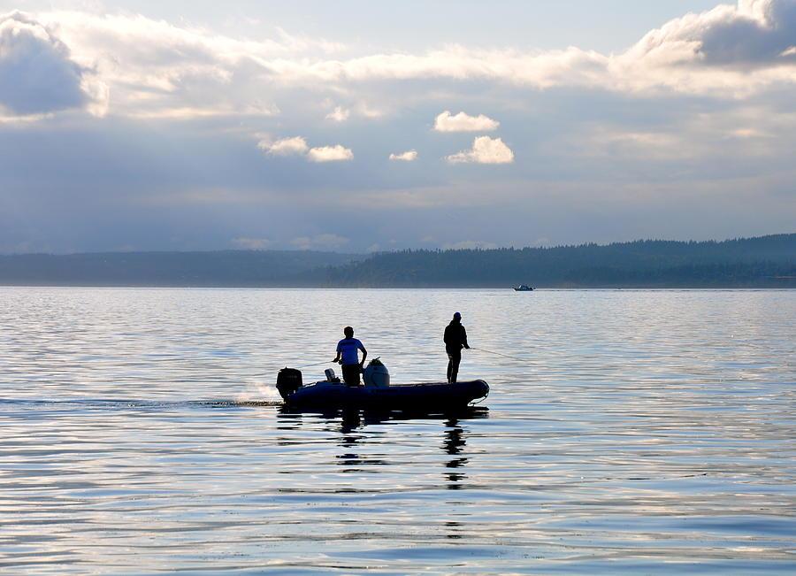 Fishing Photograph - Fishing at Sundown by Caroline Reyes-Loughrey