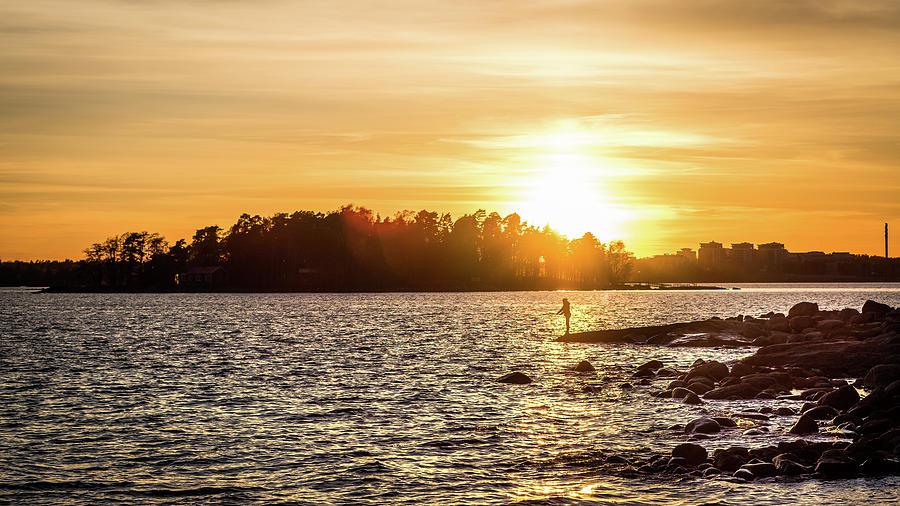 bda1f3cc274 Candid Photograph - Fishing At Sunset - Helsinki
