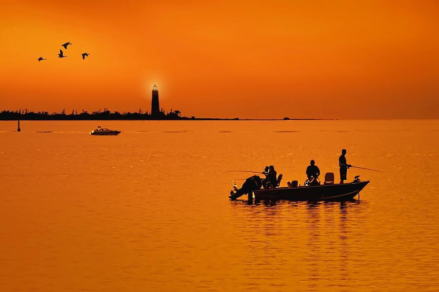 Twilight Photograph - Fishing at sunset by Jeff S PhotoArt