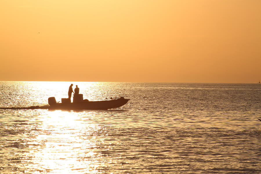 Fishing Photograph - Fishing At Sunset by Joe Carson