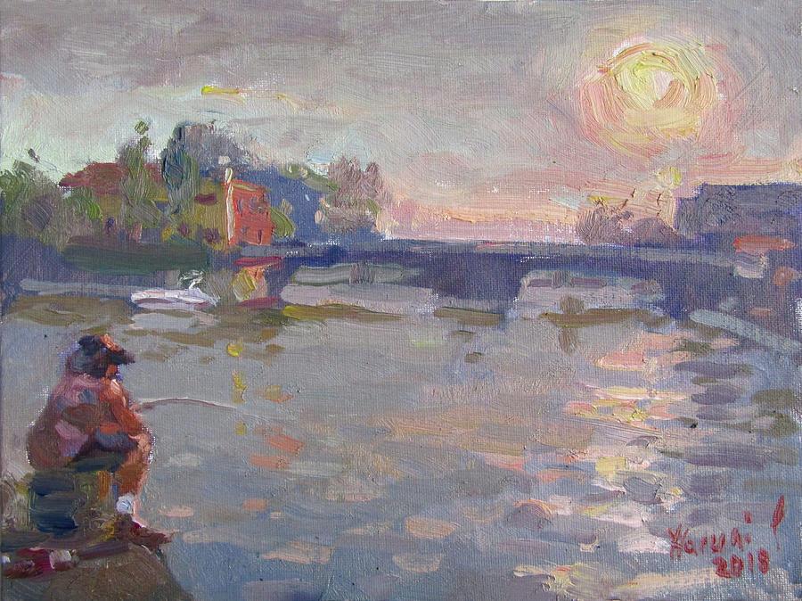Fishing Painting - Fishing At Sunset  by Ylli Haruni