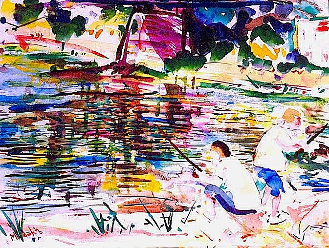 Landscape Painting - Fishing At The Easton Free Landing by Michael Hudak