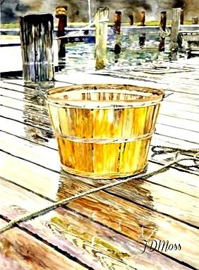 Basket Drawing - Fishing Basket by Janet Moss