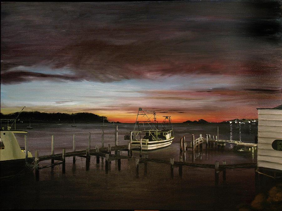 Water Painting - Fishing Bay At Sunrise by Elisabeth Dubois