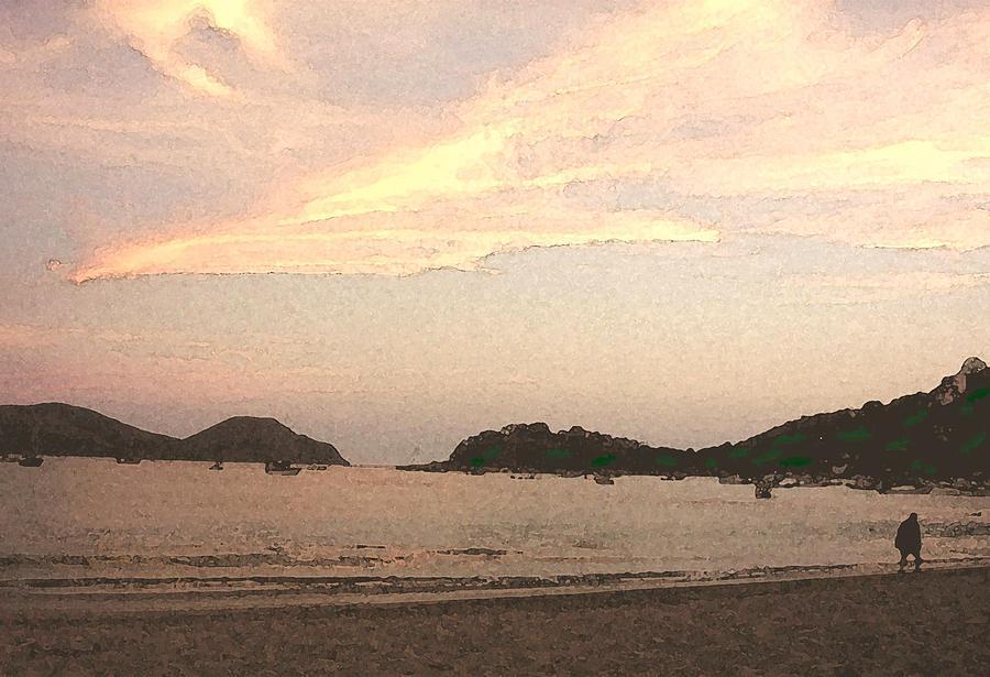 Bay Mixed Media - Fishing Bay At Sunset by James Johnstone