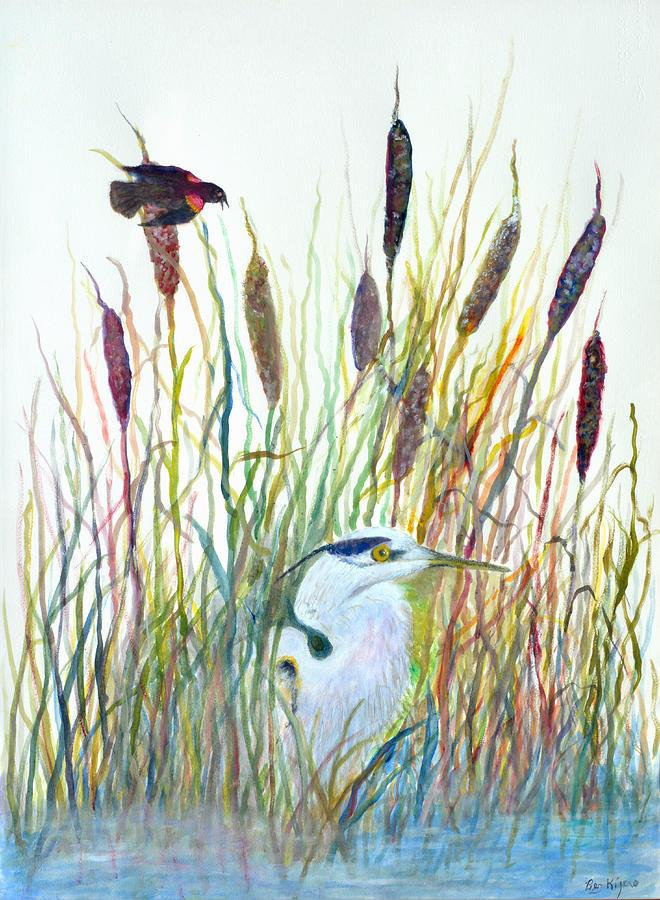 Fishing Painting - Fishing Blue Heron by Ben Kiger