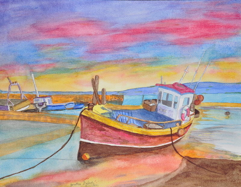 Boat Painting - Fishing Boat At Low Tide by Jonathan Galente