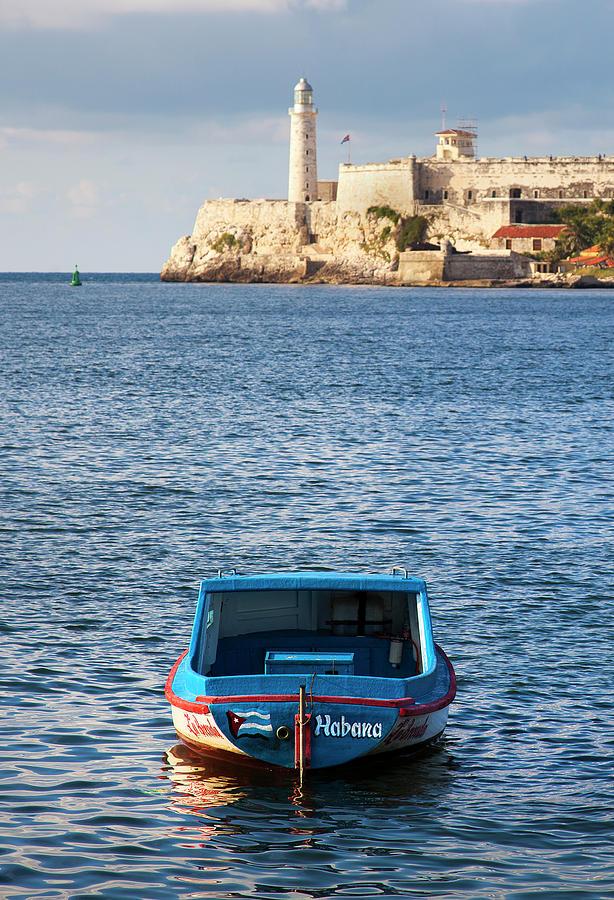 Fishing Boat at Morro Castle Havana Cuba by Charles Harden