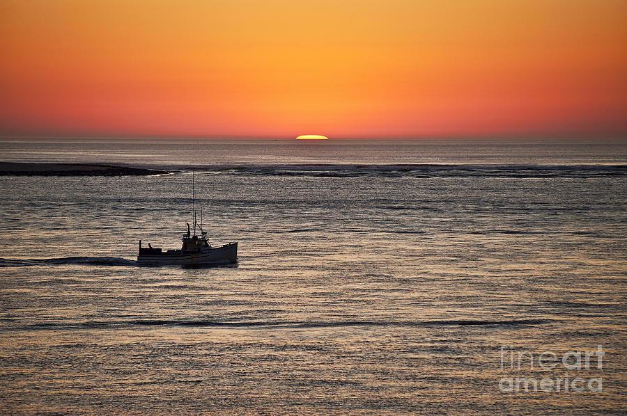 Cape Cod Photograph - Fishing Boat At Sunrise. by John Greim