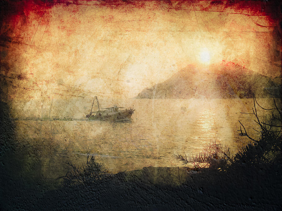 Photo Photograph - Fishing Boat At Sunset by Loriental Photography
