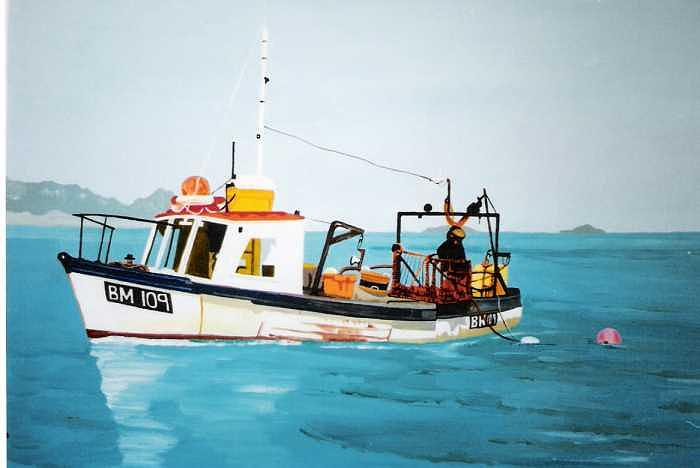 Fishing Boat Painting by David Ellis