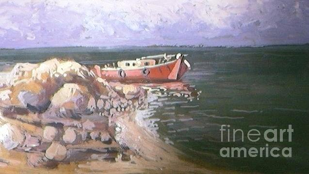 Fishing Boat Painting by George Siaba