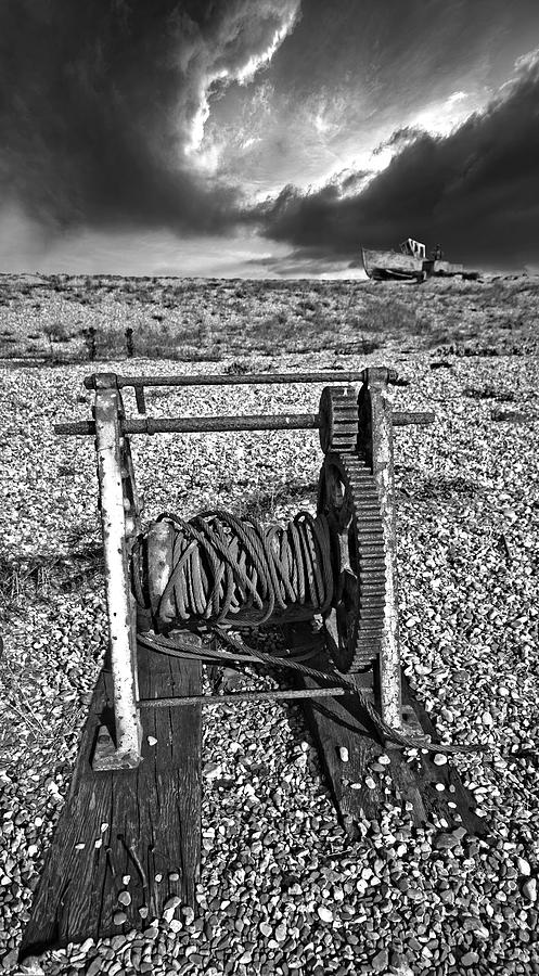 Winch Photograph - Fishing Boat Graveyard 8 by Meirion Matthias