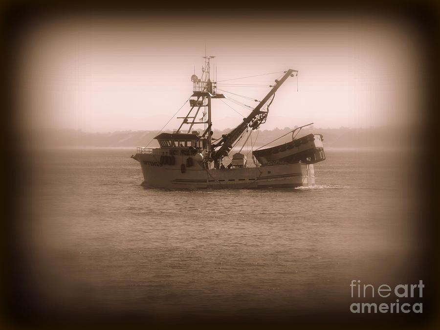 Boat Photograph - Fishing Boat In Monterey Bay by Joy Patzner