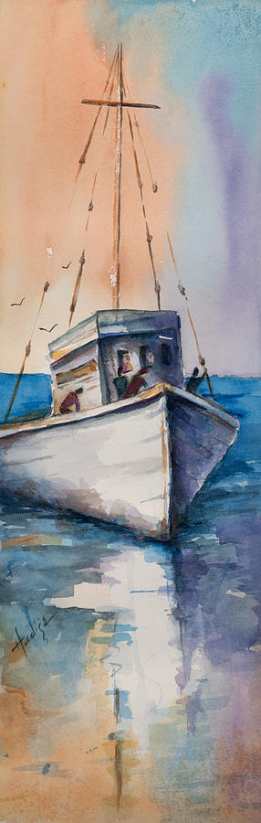 Fishing Boat On A Clear And Beautiful Florida Gulf Day. Painting - Fishing Boat by Mary DuCharme