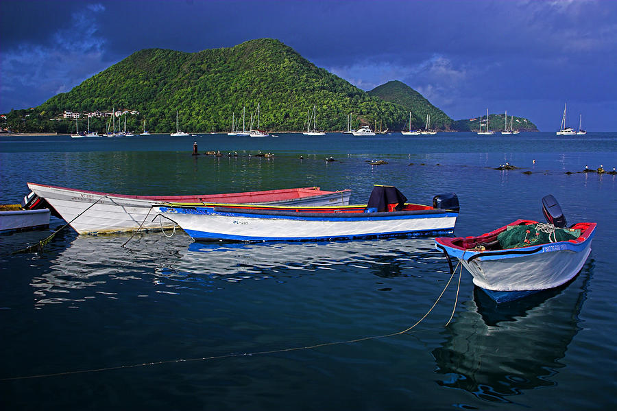 Boat Photograph - Fishing Boats At Sunrise- St Lucia by Chester Williams