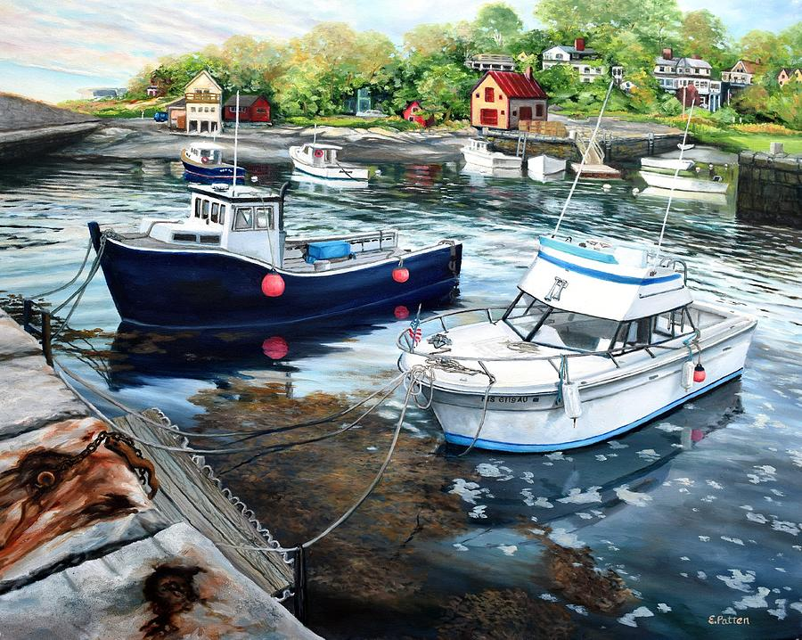 Cape Ann Painting - Fishing Boats In Lanes Cove Gloucester Ma by Eileen Patten Oliver