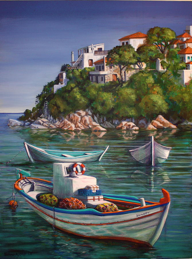 Boat Painting - Fishing Boats In Skiathos Old Port by Yvonne Ayoub