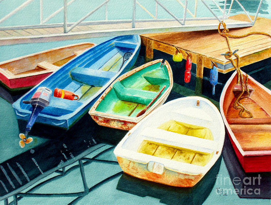 Fishing Painting - Fishing Boats by Karen Fleschler