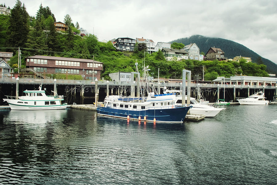 Ketchikan Photograph - Fishing Boats Moored At The Port Of Ketchikan, Alaska by Dani Prints and Images