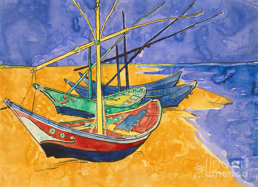 Fishing Painting - Fishing Boats On The Beach At Saintes Maries De La Mer by Vincent Van Gogh