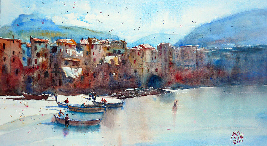 Watercolor Painting - Fishing Boats On The Beach Of Cefalu by Andre MEHU
