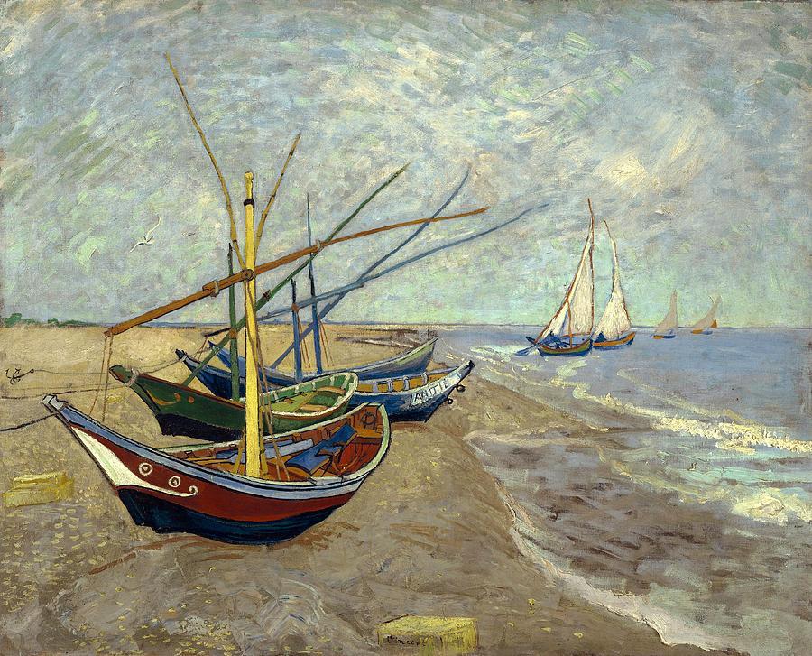 Van Gogh Painting - Fishing Boats On The Beach by Van Gogh
