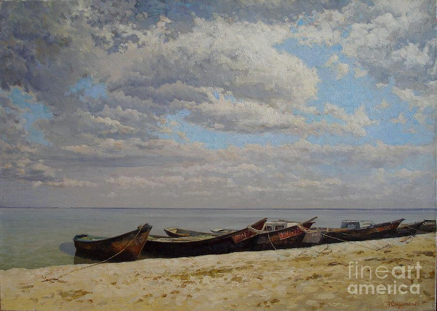 Sand Painting - Fishing Boats On The Volga by Andrey Soldatenko