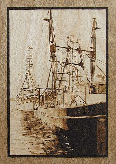 Rhode Island Pyrography - Fishing Boats Port Of Galilee Ri by Cate McCauley