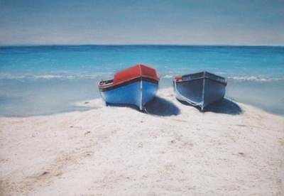 Blue Skies Painting - Fishing Boats by Rose Baggs