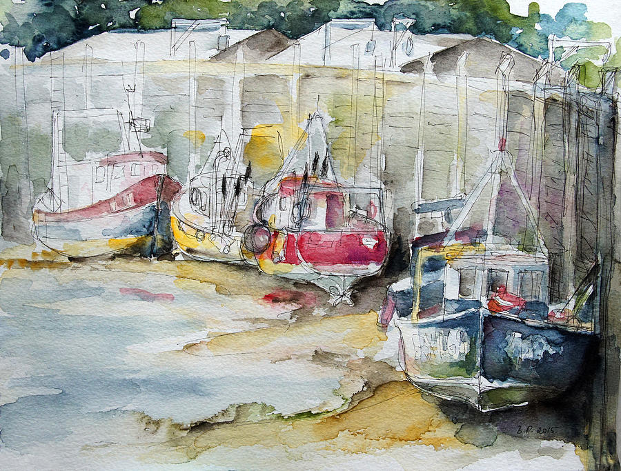 Summer Painting - Fishing Boats Settled Aground During Ebb Tide by Barbara Pommerenke