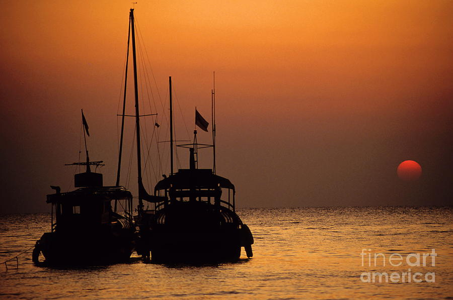 Anchored Photograph - Fishing Boats Together At Sunset by Sami Sarkis