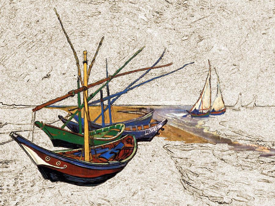 Fishing Digital Art - Fishing Boats Van Gogh Digital Art by Karla Beatty