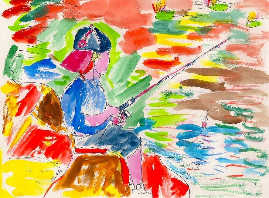Child Painting - Fishing Boy. by Samuel Zylstra