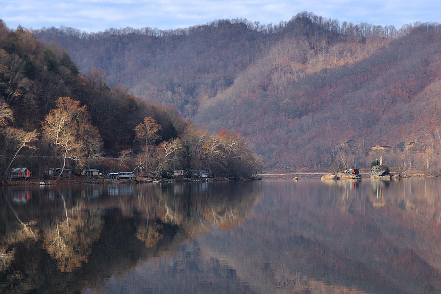 New River Photograph - Fishing Camps On The New River by Robert  Suits Jr