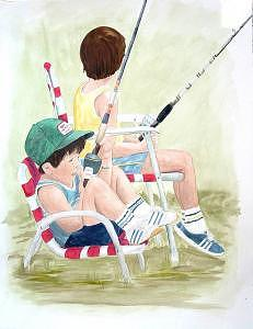 Fishing Painting by Diane Ziemski