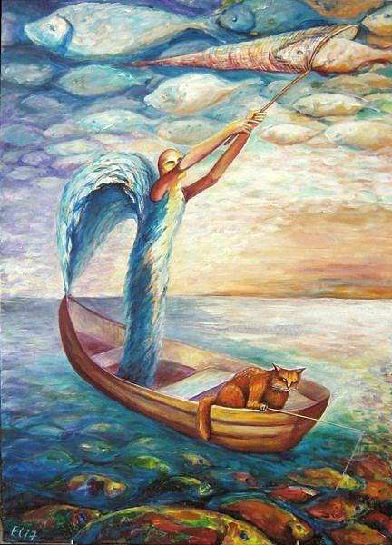 Good Luck Painting - Fishing by Elisheva Nesis