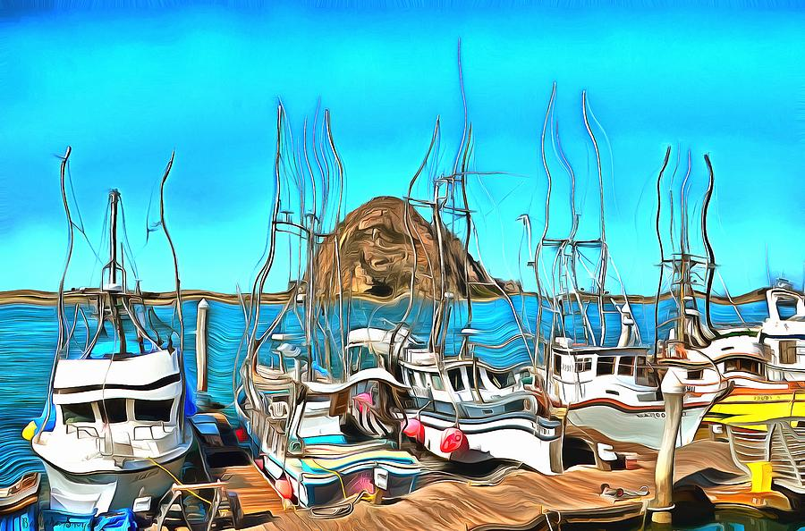 Fishing Fleet In Front Of Morro Rock Surreal Photograph