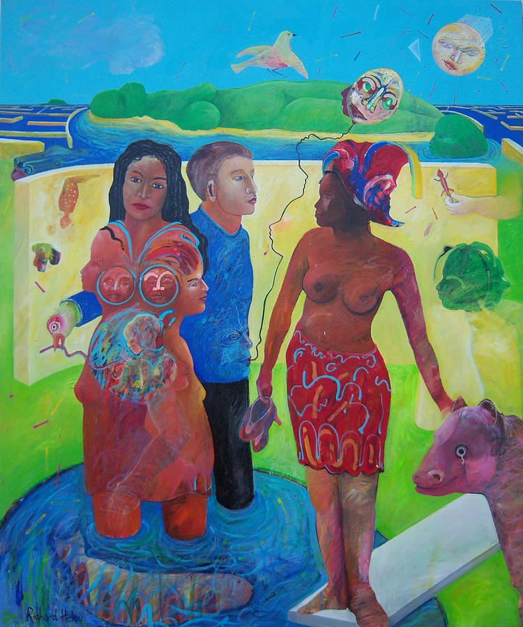 Human Relationships Painting - Fishing For Chance Answers by Richard Heley