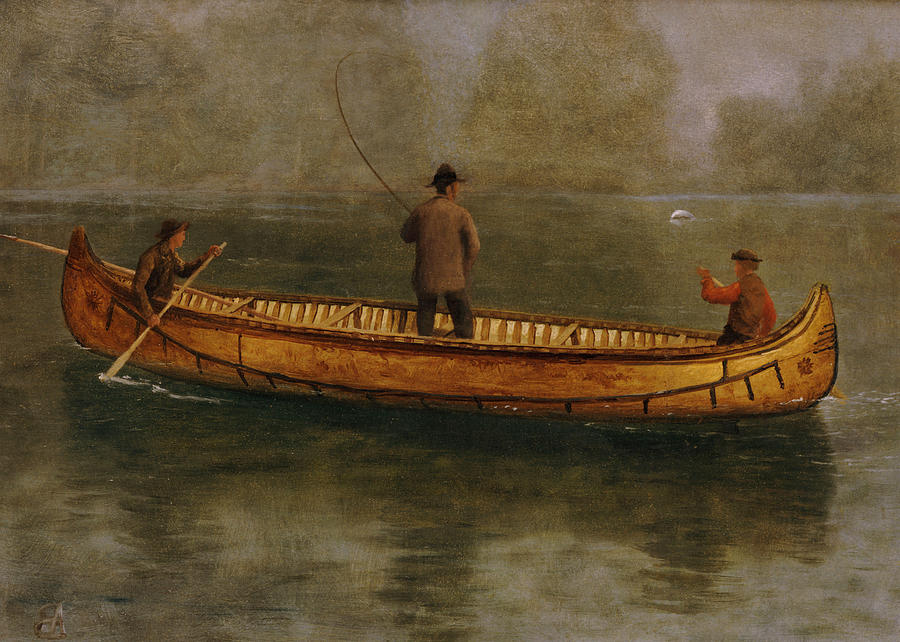 Angler Painting - Fishing From A Canoe by Albert Bierstadt