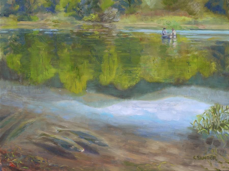 kress lake. landscape painting - fishing in kress lake by carol sandor