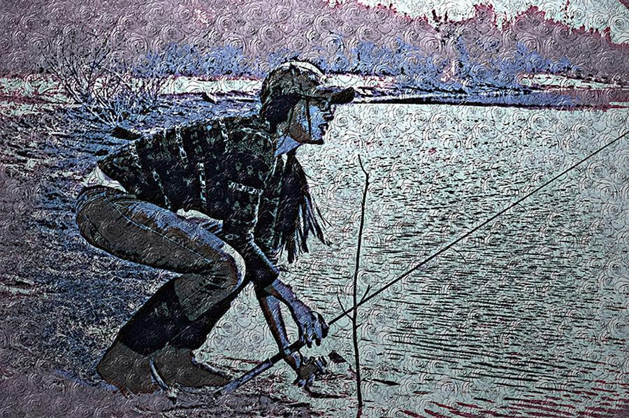Fishing in Purple Van Gogh by Lisa Holland-Gillem