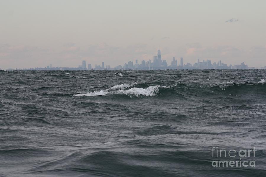 Telfer Photograph - Fishing In Rough Ocean Seas Off The Coast Of Manhattan by John Telfer