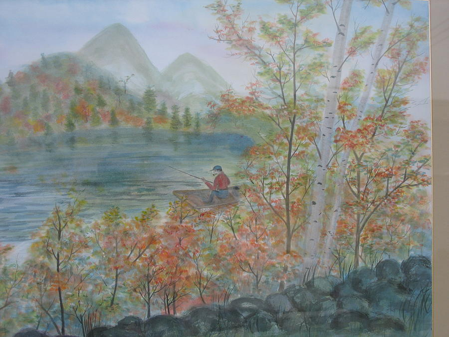 Landscape Painting - Fishing In The Morning by Gerry Fong