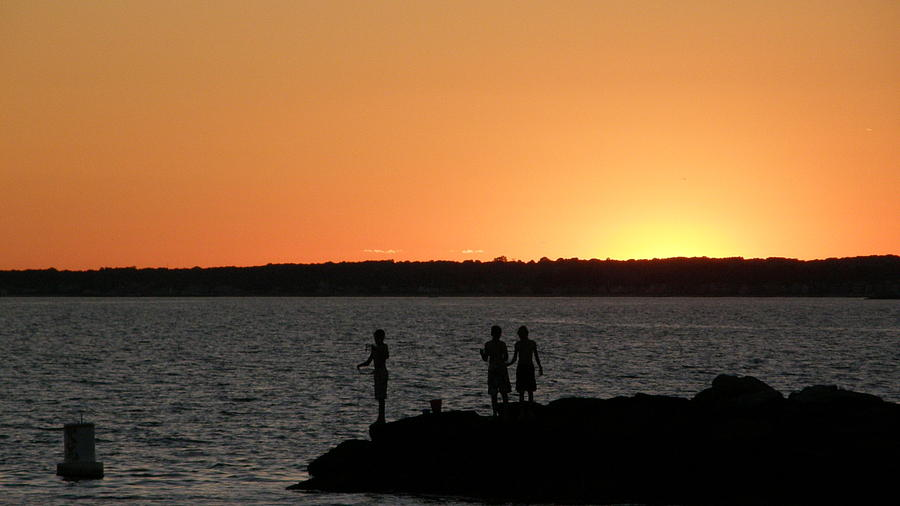 Sunset Photograph - Fishing In The Sound by Steven W Rand