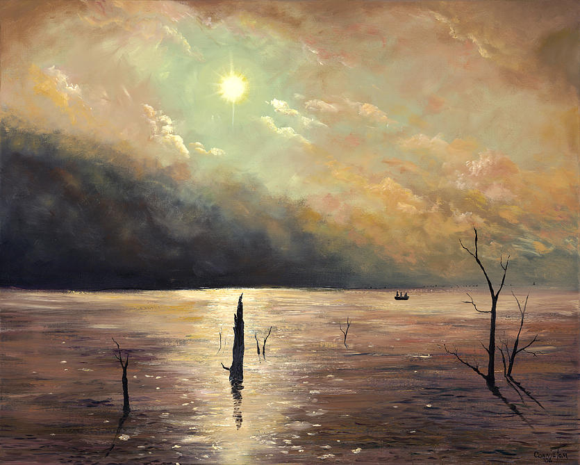 Landscape Painting - Fishing In The Twilight Waters by Connie Tom