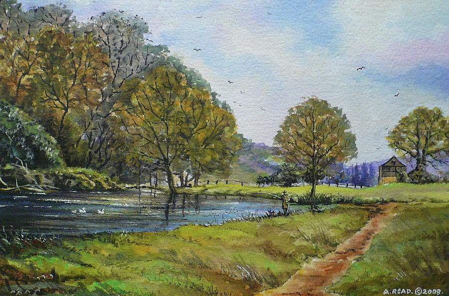 Water Colour Painting - Fishing In The Wye Valley by Andrew Read