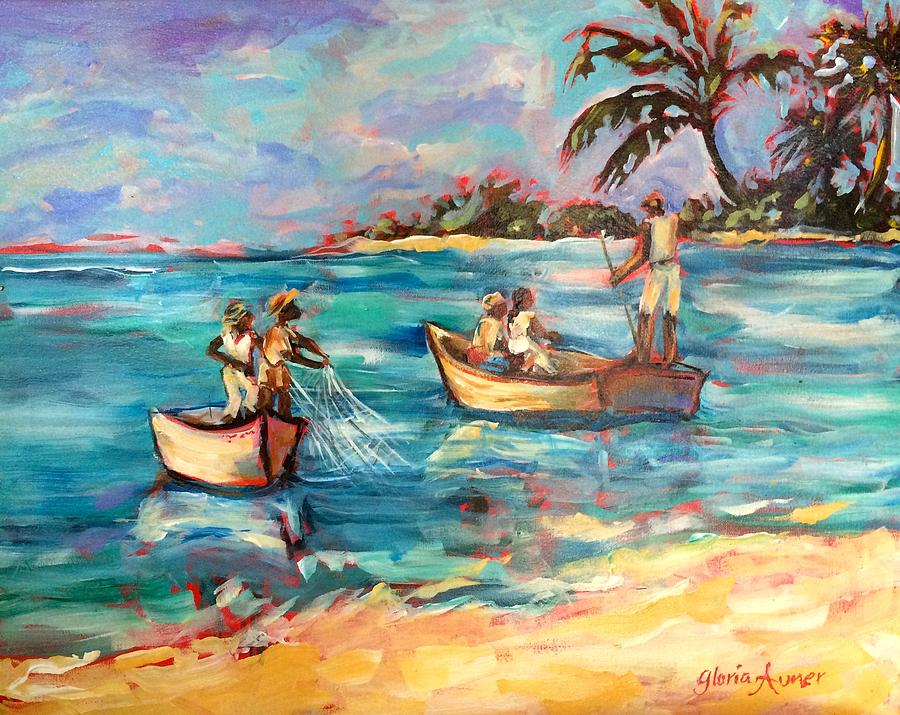Fishing in Turquoise Waters by Gloria Avner