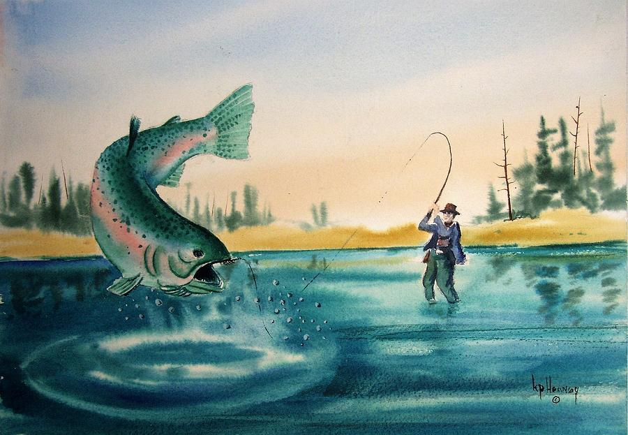 Fishing Painting - Fishing Montana by Kevin Heaney