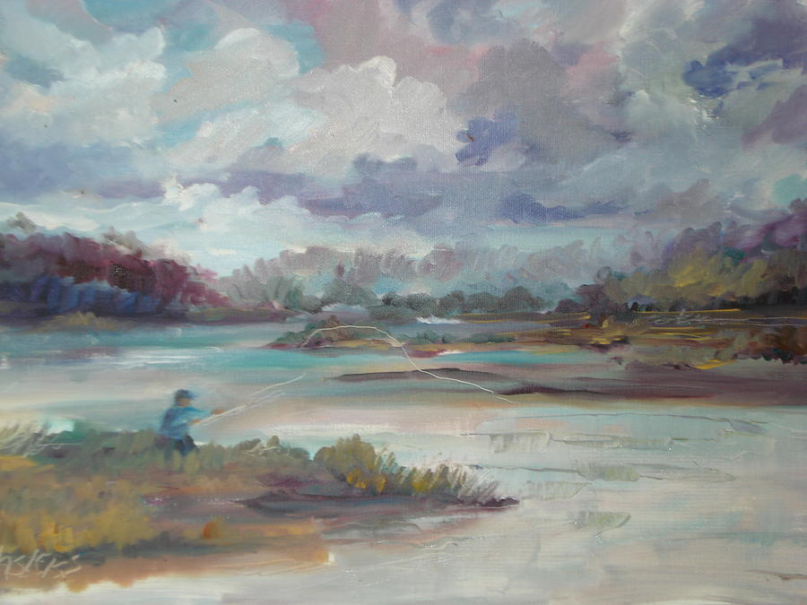 Fishing Near Rose Bay Florida Painting by Marilyn Masters